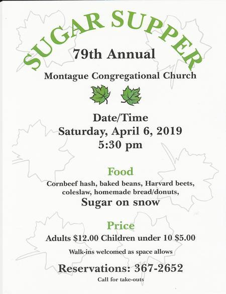 SUGAR SUPPER, Sat, Apr 6, 2019 - Montague Center First